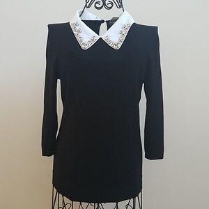 Women's Zara black collared sweater